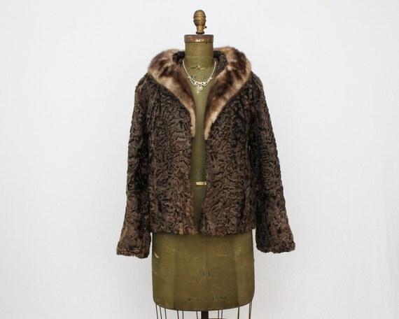 Brown Persian Lambswool Coat - Vintage 1960s Brown Mink Collar Fur Coat
