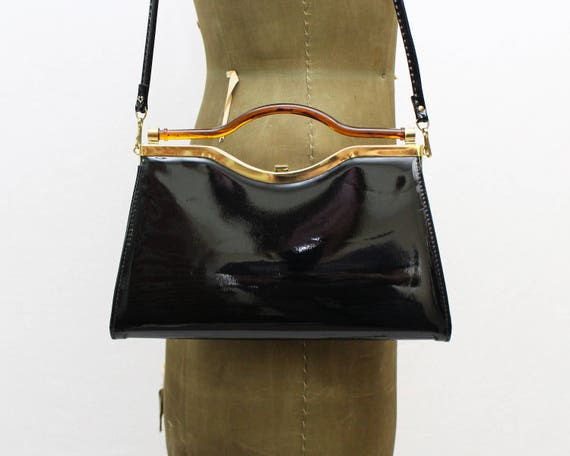 60s Black Patent Leather Handbag - Vintage 1960s Tortoise Top Handle Purse