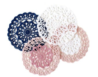 "Small CROCHET DOILY - Round Lace Doily (6.75"") - Unique Handmade Ornament (Various Colours)"