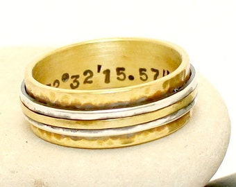 Coordinates hammered Ring of sterling silver and brass  Custom Ring Wedding Band  Men / Women Band  Anniversary Ring  Gold Ring