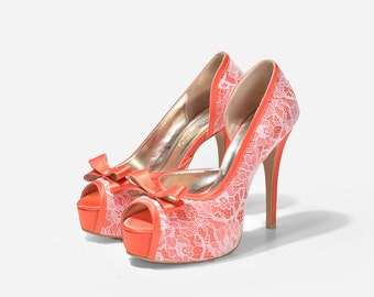 Lady Catherine Custom Made Lace Peep Toe Pumps, Orange Lace Pumps, Tangerine Platform Pumps, Vermillion Wedding Heels