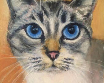 """8"""" x 10"""" Custom Oil Pet Painting on Canvas Panel of One Dog, Cat, Horse, bird, Other by Meredith Reynells"""