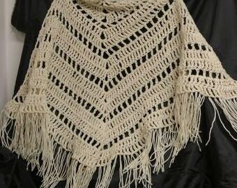 Beautiful cream colored triangular shawl/scarf with dramatic fringe