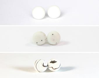 Clay Earrings - Whites
