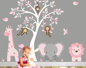 Jungle Decal, Blush Pink And Grey Nursery Decor. Baby Girls Safari Wall  Stickers, Part 18