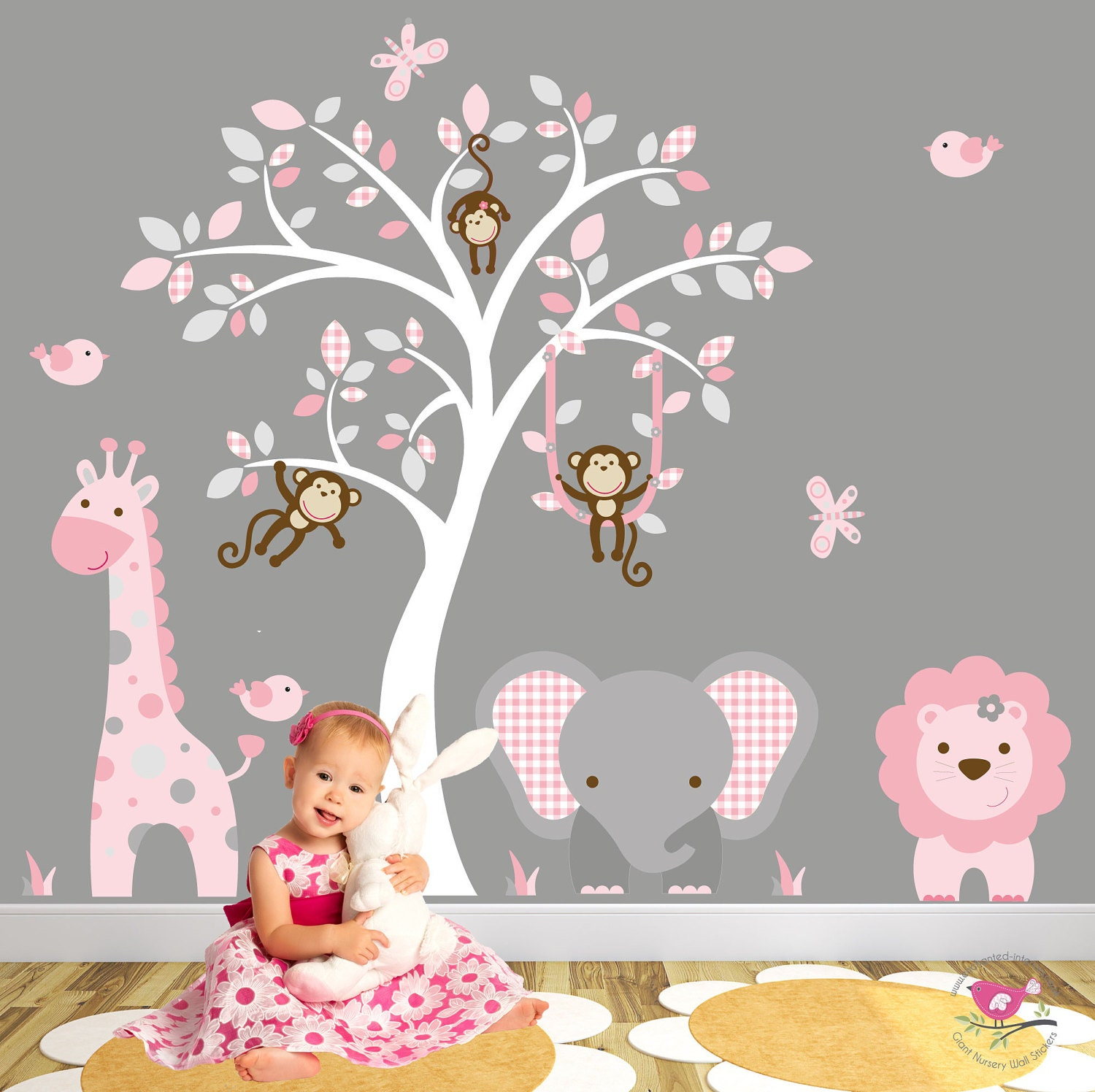 Jungle Decal Blush Pink And Grey Nursery Decor Baby Girls