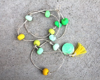 Clay hanging decor lime green and yellow