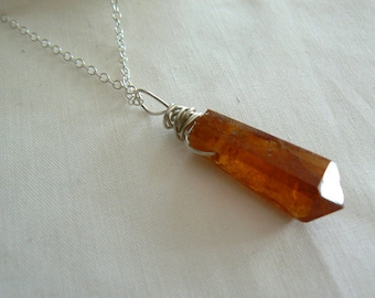 Orange garnet gemstone point pendant- Hessonite sterling silver necklace-Women pendant gift- Crystal point gemstone pendant-Fashion jewelry