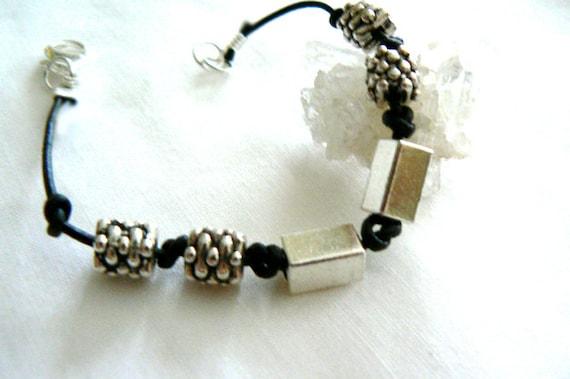 Silver black leather bracelet- Boho stacking charm bracelet- Men bracelet gift- Leather jewelry- Fashion trendy bracelet-Unisex gift