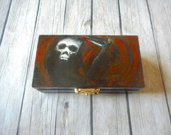 Pandora's box small wooden jewelry box decoration dark fantasy artwork decorations grim reaper death skull hand painted gothic art gift