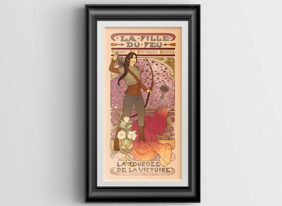 "La fille du feu large signed art print - 10""x20"""