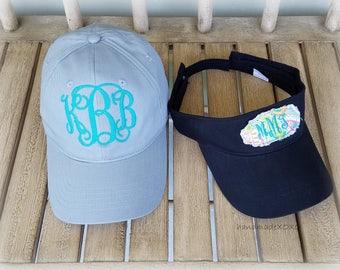 Monogrammed Ballcap Gift Set-Monogrammed Ballcap-Appliqued Sun Visor Set- Ladies Hat set- Preppy Paisley Floral Patch-Mom Gift-Trendy Hats