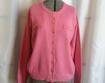 SHOP CLOSING 70% OFF Vintage sweater pink cardigan sweater size petite small
