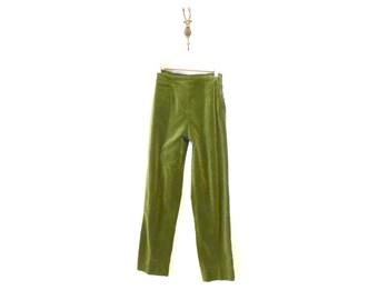 High Rise Green Velvet Cigarette Pants / Velvet Mid Century Trousers