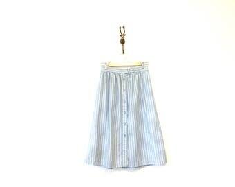 Blue Stripe Cotton Midi Skirt