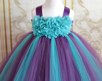 SALE!! Plum & teal chiffon hydrangea Flower girl tutu dress