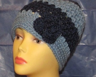 Soft and Comfy Blue Messy Bun Hat w/Flower