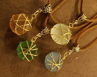 Wire Wrapped Leather Sea Glass Crystal Necklace