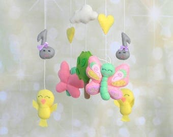 Baby mobile Butterfly mobile Bird mobile Baby girl mobile felt crib mobile Cot mobile butterfly nursery mobile nature mobile modern mobile
