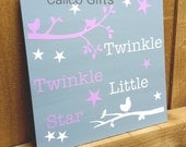 new baby plaque baby girl gift nursery decor twinkle twinkle little star lilac and white new baby sign new baby gift