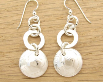 For 60th: 1957 US Dime Earrings with Silver Rings 60th Birthday or 60th Anniversary Gift Coin Jewelry