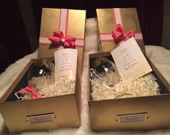 Will You Be My Bridesmaid/I Can't Say I Do Without You/ Will You Be My Maid of Honor Proposal Boxes--Completely customizable (Gold & Coral)