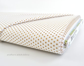 Metallic Gold Tiny Dots on White Fabric - Spot On from Robert Kaufman. New Years or Christmas - 100% cotton.  EZCM-12873-303 Blanc