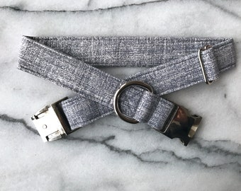 Gray and Silver Metallic  Dog Collar with Metal Buckle - Aluminum Buckle, Puppy, Handmade, Silver Buckle