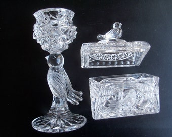 Hofbauer Byrdes Lead Crystal Candlestick Holder & Covered Chest Box