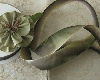 """Vintage French Ombre Wired Ribbon 1"""" Wide - Light to Dark Olive Green - Ribbonwork & Crafts, Bows, Sewing - Sold by the Yard"""