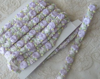 Embroidered Floral Silk Ribbon Trim - Ribbonwork - Sold by the Yard - Crafts, Sewing, Costumes, Scrapbook, Dolls