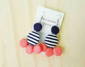 Navy Stripe Fabric Yoyo Earrings