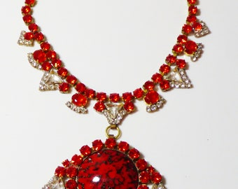 Husar D Czech Glass Red and Clear Rhinestone Pendant Necklace