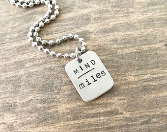 Runner Jewelry, Mind over Miles, Marathon Necklace, Half Marathon Jewelry, Gift for Runner Woman, Marathon Gift, Jewelry for Runner