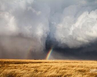 Rainbow Photography, Kansas Print, Cloud Art Print, Fine Art Weather, Golden Field, Prairie Grass, Rain Picture, Storm Image, Rainbow Art