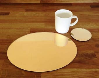 Oval Placemats or Placemats & Coasters - in Gold Mirror Finish Acrylic 3mm