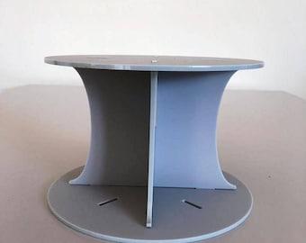 "Plain Round Light Grey Mat Acrylic Cake Pillars / Cake Separators, for Wedding / Party Cakes 10cm 4"" High, Size 6"" 7"" 8"" 9"" 10"" 11"" 12"""