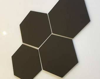 "Mocha Brown Mat Acrylic Hexagon Crafting Mosaic & Wall Tiles, Sizes: 1cm to 20cm - 1"" to 7.9"""