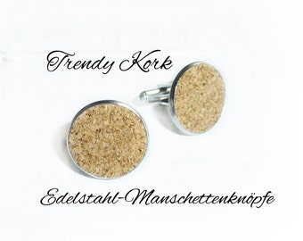 Stainless steel cuff links with Cork
