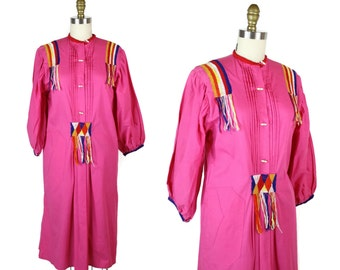1970s Mexican Tunic Dress / 70s Vintage Hot Pink Embroidered Cotton Dress