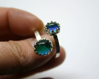 Sterling Silver Double Mood Ring, Double Mood Ring, Mood Rings, Silver Mood Rings