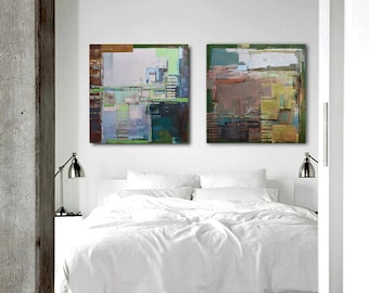 "Oil painting, canvas art, stretched, diptych ""Abstract cityscape II"".Size 55.11/27.5 inches (2x 27.5 x 27.5 inch -140/70cm). Free Shipping!"