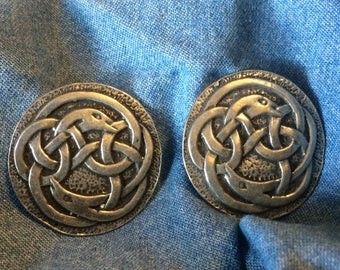 Set of 2 Pewter Celtic Dolphin Buttons - 1& 1/2""