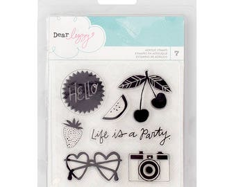 American Craft Stamps - Dear Lizzy Happy Place Acrylic Stamps 7/Pkg