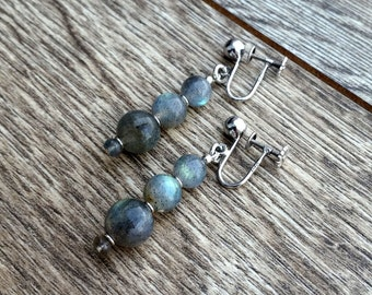 Victorian Sky- Beaded Gray Stacked Labradorite Vintage 1/20 12k White Gold Filled Screwback Drop Earrings