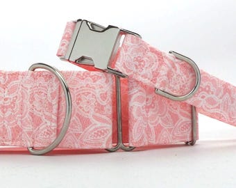 Coral and White Lace Pet Collar (Martingale, Buckle, or Tag)