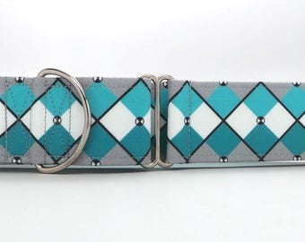 Teal and Grey Abstract Argyle Dog Collar (Martingale, Buckle or Tag)