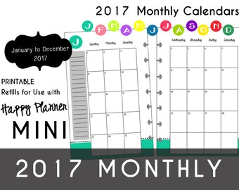 MINI Happy Planner 2017 MONTHLY Planner Inserts in 12 Colors Jan thru Dec   mambi | Create365 | me&MyBigIdeas Printable PDF