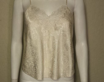 Creme Demask rose patterned camisole