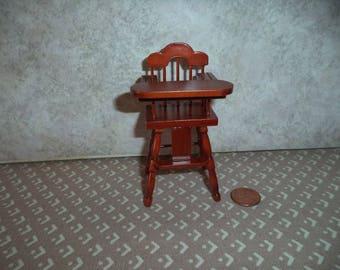 1:12 scale Dollhouse Miniature Light mahogany High Chair